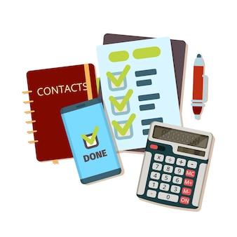 Rechner-business-tools. modernes briefpapier notizbuch stift papierblatt vektor draufsicht flaches bild