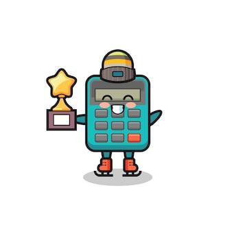 Rechner-cartoon als eislaufspieler halten siegertrophäe, niedliches design für t-shirt, aufkleber, logo-element