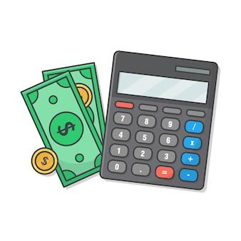 Rechner mit geld und münzen.