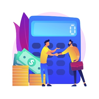 Rechner mit nummer. finanzielle abmachung. bestätigung mit handschlag. berechnung von betrieb, prüfung, risikokapital. wirtschaftliche partnerschaft. isolierte konzeptmetapherillustration.