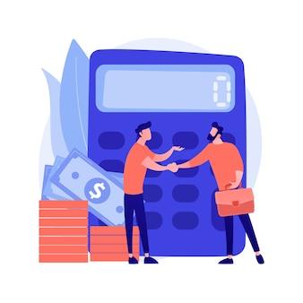 Rechner mit nummer. finanzielle abmachung. bestätigung mit handschlag. berechnung von betrieb, prüfung, risikokapital. wirtschaftliche partnerschaft. vektor isolierte konzeptmetapherillustration.