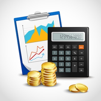 Rechner und goldene münzen