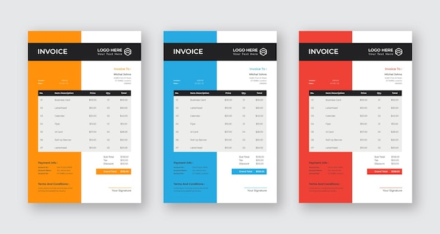 Rechnung modernes business design eps