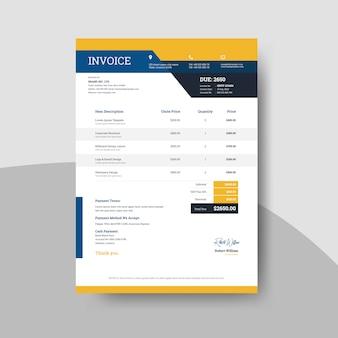 Rechnungsgestaltung mit blau-orangefarbenem layout, rechnungsgestaltung