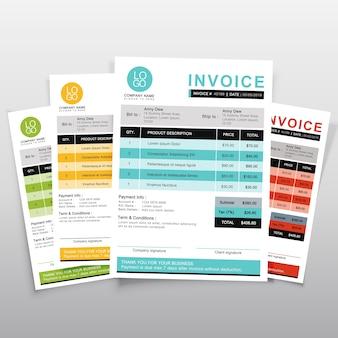 Rechnungsvorlage vektor-design. minimaler zitatentwurf des grüns, des gelbs, des blaus und der orange.