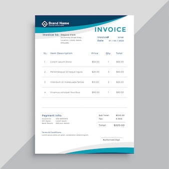 Rechnungsvorlagendesign für unternehmen