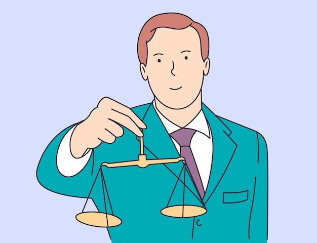 Recht, gerechtigkeit, notar, arbeitskonzept. junger glücklicher lächelnder mann kerl angestellter manager anwalt anwalt richter, der schuldiges gewicht demonstriert.