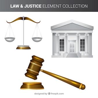 Recht und gerechtigkeit packen mit realistischem stil