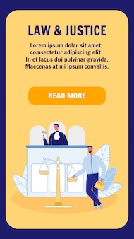 Recht und gerechtigkeit vertikale landing page template