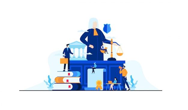 Recht und rechtliche flache illustration