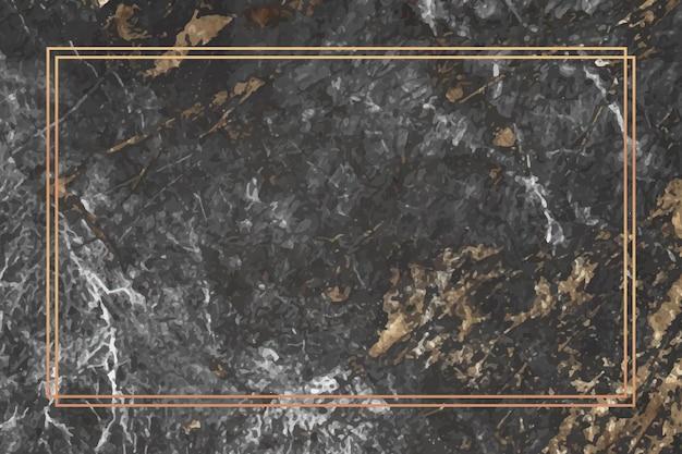 Rechteckgoldrahmen auf marmorhintergrund