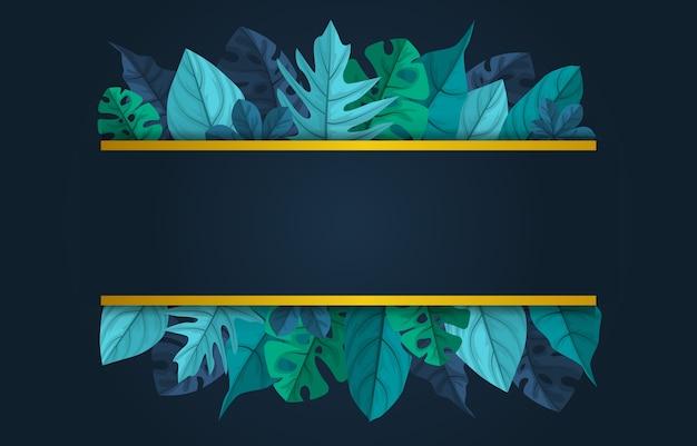 Rechteckgrüne tropische pflanze sommerblatt grenze rahmen hintergrund