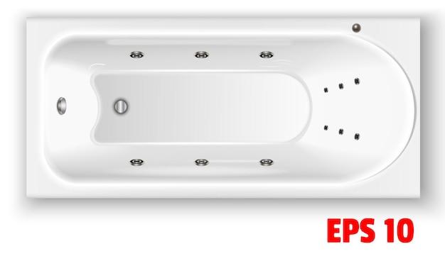 Rechteckige acrylbadewanne draufsicht keramische weiße badezimmerarmaturen blase in