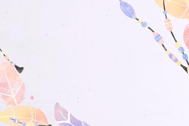 Rechteckige bordüre im boho-stil mit blättern und federn