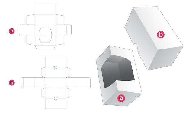 Rechteckige box mit gestanzter schablone aus fenster und deckel