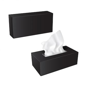 Rechteckige box mit papierservietten. realistisches verpackungsset