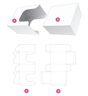 Rechteckige box mit u-förmiger abdeckung gestanzte schablone