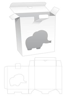 Rechteckige box mit verriegelungspunkt und elefantenförmiger fensterstempelschablone