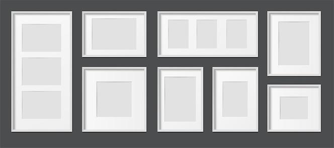 Rechteckige realistische realistische bilderrahmen aus weißem holz und kunststoff in verschiedenen größen