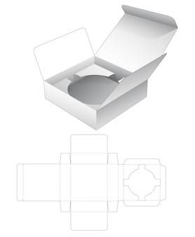 Rechteckige schachtel aus zinn mit gestanzter schablone für kreishalter