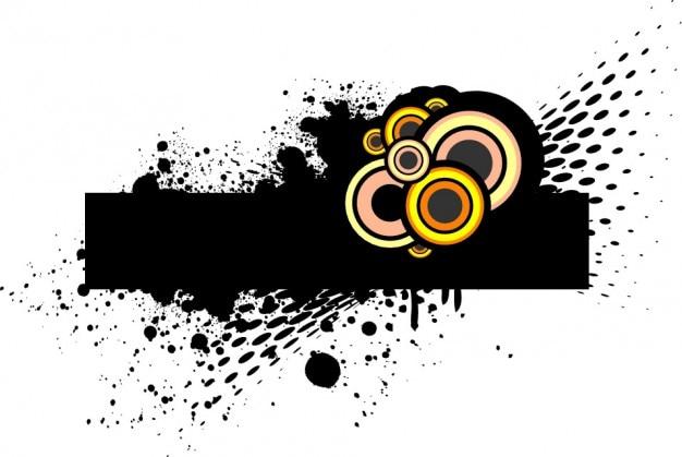 Rechteckige schwarze fahne mit kreisen der farbe
