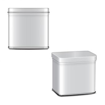 Rechteckige weiß glänzende blechdose. behälter für kaffee, tee, zucker, süßes, gewürz. realistisches illustrationsverpackungsset