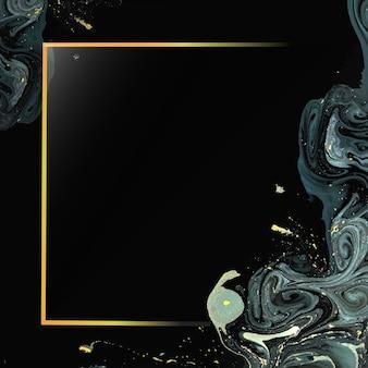 Rechteckiger goldrahmen auf abstraktem flüssigem hintergrundvektor