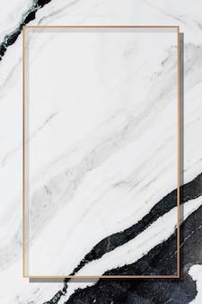 Rechteckiger goldrahmen auf grauem marmorhintergrundvektor