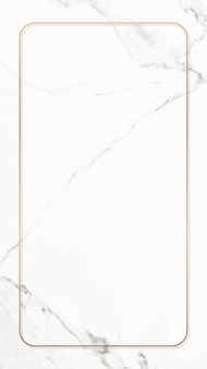 Rechteckiger goldrahmen auf weißem marmorhandy-tapetenvektor