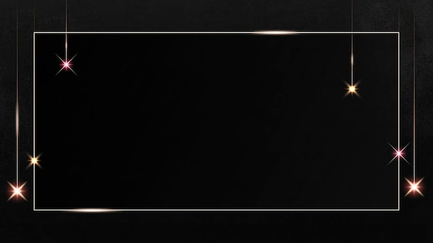 Rechteckiger goldrahmen mit glitzermuster auf schwarzem hintergrund