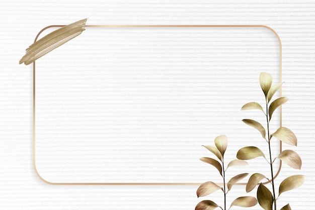 Rechteckiger goldrahmen mit metallischem eukalyptusblatt-hintergrundvektor