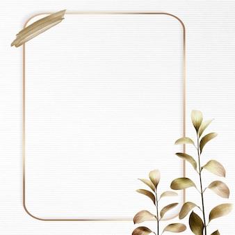 Rechteckiger goldrahmen mit metallischem eukalyptusblatthintergrund