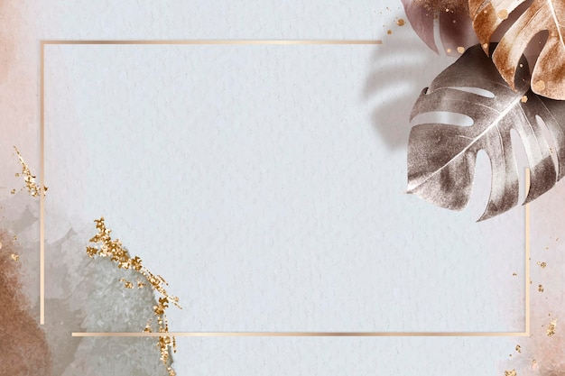 Rechteckiger goldrahmen mit metallischem monstera-blatthintergrund
