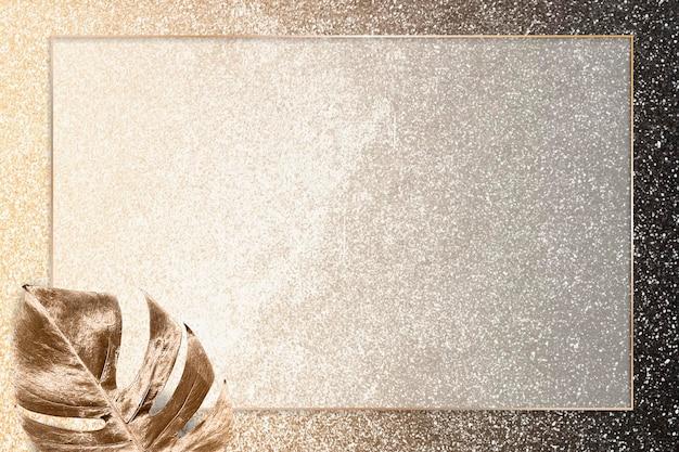Rechteckiger goldrahmen mit metallischem monstera-blatthintergrundvektor