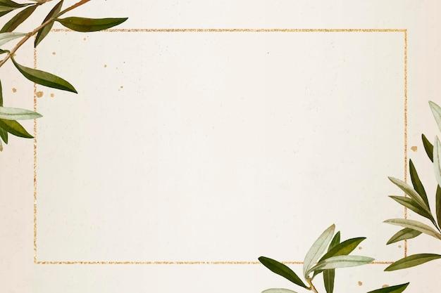 Rechteckiger goldrahmen mit olivenzweigmuster