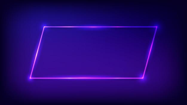 Rechteckiger neonrahmen mit glänzenden effekten auf dunklem hintergrund. leere leuchtende techno-kulisse. vektor-illustration.