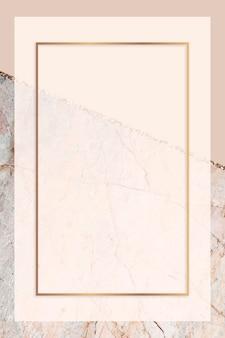 Rechteckiger rahmen auf pastellorange marmoriertem hintergrund