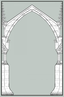 Rechteckiger rahmen im mittelalterlichen manuskriptstil. spitzbogen im gotischen stil mit fliegenden strebepfeilern.