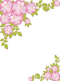 Rechteckiger rahmen mit einem muster aus rosavioletten blumen in den ecken
