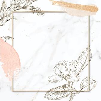 Rechteckiger rahmen mit pinselstrichen und umrissblumendekoration auf marmorhintergrund