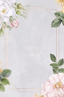 Rechteckiger rosenrahmen auf marmorhintergrund