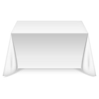 Rechteckiger tisch mit weißer tischdecke