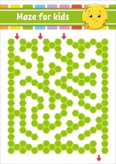 Rechteckiges farblabyrinth. netter moon.game für kinder. lustiges labyrinth. arbeitsblatt zur bildungsentwicklung. aktivitätsseite.