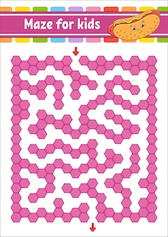 Rechteckiges farblabyrinth. spiel für kinder. lustiges labyrinth. arbeitsblatt zur bildungsentwicklung.