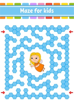 Rechteckiges farblabyrinth. spiel für kinder. lustiges labyrinth.