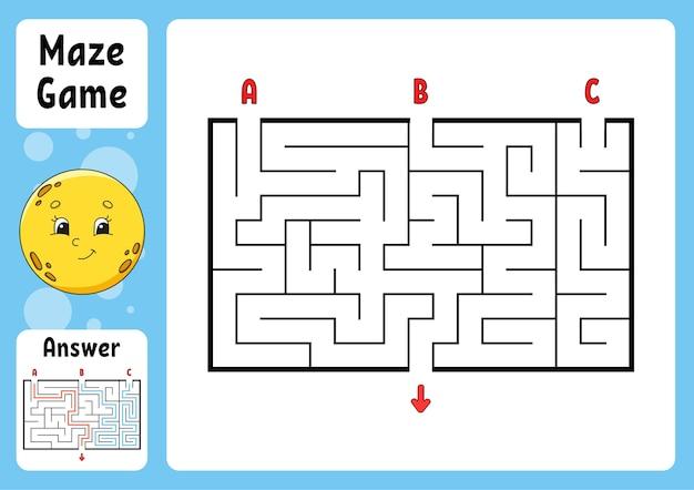 Rechteckiges labyrinth. spiel für kinder. drei eingänge, ein ausgang. puzzle für kinder. labyrinth-rätsel.