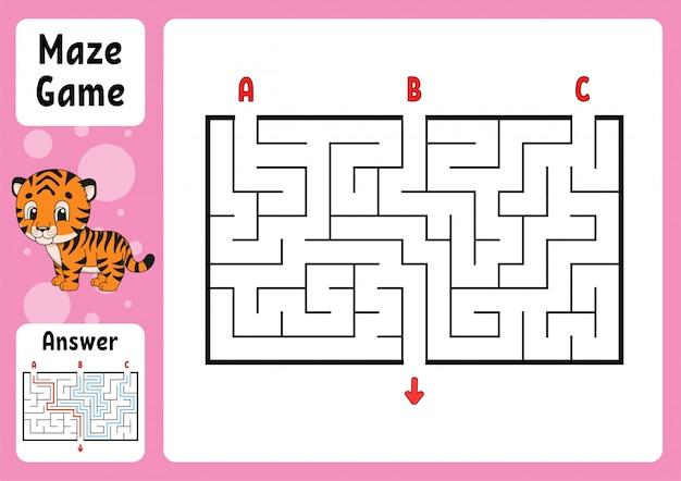 Rechteckiges labyrinth. spiel für kinder. drei eingänge, ein ausgang. puzzle für kinder.