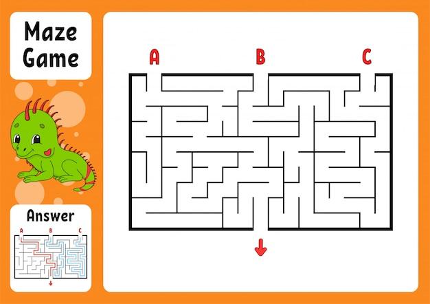 Rechteckiges labyrinth. spiel für kinder.