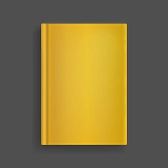 Rechteckiges, leeres goldenes realistisches buchcovermodell, geschlossener organizer oder notizbuchvorlage