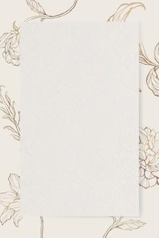 Rechteckiges papier auf floralem umrisshintergrund
